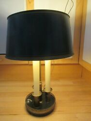 Vintage TOLE Green amp; Gold 20quot; Metal 3 Switch Desk Lamp Drum Lamp Shade $65.00
