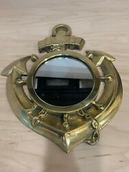 Vintage Solid Brass Anchor Mirror 13#x27;#x27; Nautical Anchor Brass Mirror Wall Hanging $72.00