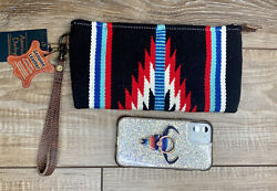 American Darling Black Saddle Blanket LEATHER Wristlet Brown Strap NWT $49.00