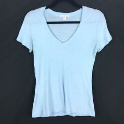 James Perse Womens Solid Blue Short Sleeve Sheer Slub V-Neck Size 2 $23.95