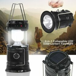 2 Way Rechargeable Camping Lantern Portable Light w Solar Panel $10.99