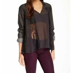 Free People Denim and Lace Swing Swing Top Sz Med $25.99