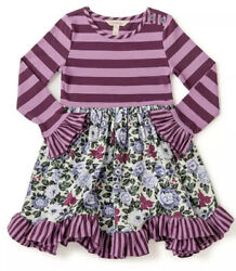 Matilda Jane Size 12 Wise One Dress Purple Stripes Floral Choose Your Own Path $54.00