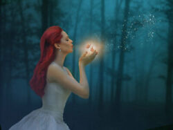 Red Hair Girl Butterfly Magic Forest Art Wall Canvas Print Painting Home Decor $32.90