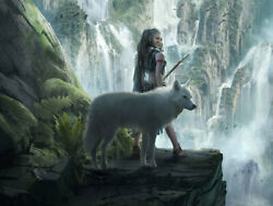 Fantasy Girl And Wolf Mountains Waterfalls Art Wall Painting Print on Canvas $42.90