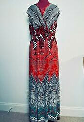 New Directions Women#x27;s Boho Multicolor V Neck Wrap Bodice Maxi Dress Size 1X $15.88