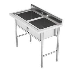 2 Compartment Commercial Sink for Garage Restaurant Kitchen Stainless Steel $226.48