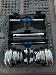 Adjustable Dumbbell Chrome Steel Weight Set 20KG 44LBS with Barbell Option Kit $84.99