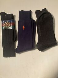 3 Pair Mens Socks Ralph Lauren Blue Calvin Klein Gray Hall Of Fame Blue $10.00