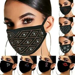 Women#x27;s Crystal Glitter Rhinestone Sparkle Bling Reusable Face Mask Covering $7.49