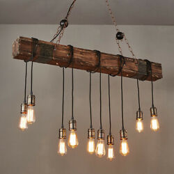 Retro Wood Industrial Pendant Light Bar Hanging Ceiling Lamp Rustic Chandelier $114.99