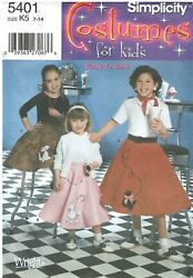 2003 Simplicity 5401 Costumes for Kids Easy to Sew Poodle Skirts sewing pattern $15.00