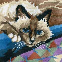 Cuddly Cat Mini Needlepoint Kit 5quot;X5quot; Stitched In Floss 088677072285 $10.16