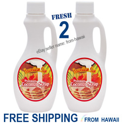 2 Jugs Bottles Premium COCONUT SYRUP 12.5oz Hawaiian Sun for Pancakes Drinks $29.98