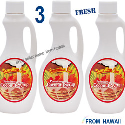 3 Jugs Bottles Premium COCONUT SYRUP 12.5oz Hawaiian Sun for Pancakes Drinks $29.90