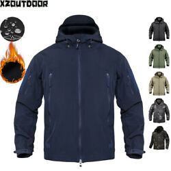 Waterproof Mens Soft Shell Jacket Army Military Fleece Coat Hooded Camo Casual $43.99