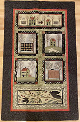 Quilted Wall Hanging With Rod Pocket. Classic Primitive country Imagery. $30.00