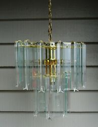 Vintage Glass and Lucite Chandelier Two Tier Brass Frame $595.00