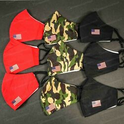 3 PACK MILITARY CAMO FACE MASK COVER US FLAG MASK WASHABLE BREATHABLE ADJUSTABLE $13.95