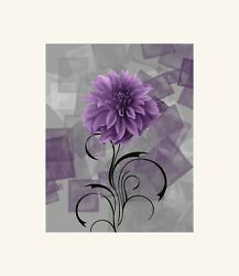 Purple Wall Pictures Contemporary Modern Floral Home Decor Wall Art $19.99