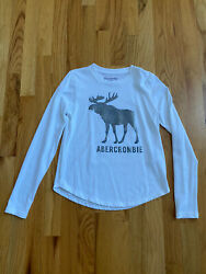 Abercrombie Kids Girls White Long Sleeve Sparkle Logo Top Size 9 10 $14.99