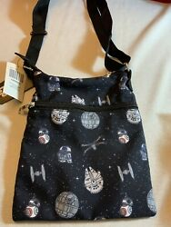STAR WARS DROIDS amp; SHIPS PASSPORT CROSSBODY BAG Death Star R2 D2 BB 8 NWT $19.95