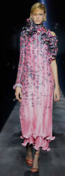 $4600 Givenchy Runway Dress Floral Plisse Sz 42 Gorgeous