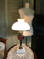 Antique Lamp Cranberry Milk Glass Column Marble Base Electric Complete amp; Working $69.00