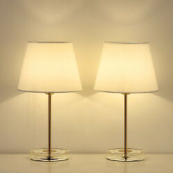 Set of 2 Small Bedside Lamps amp; Acrylic Base Small Nightstand Lamps for Bedrooms $33.90