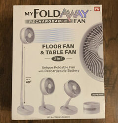 MY FOLDAWAY FAN Rechargeable Ultra Lightweight Portable Compact Floor amp; Table $39.99