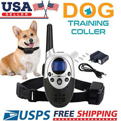 Dog Shock Training Collar Rechargeable LCD Remote Control Waterproof 330 Yards $13.99
