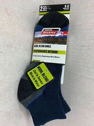 NEW 2 PACK DICKIES WOOL BLEND ANKLE PERFORMANCE OUTDOOR MEN SOCKS SIZE 6 12 $6.99