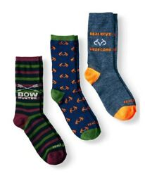 NWT Realtree Boys Socks 3 Pack Crew Hunting Size S 4 1 2 8 1 2 SMALL WINTER $6.99