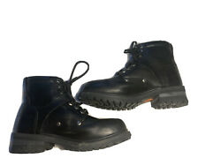 Womens Black Leather HARLEY DAVIDSON Biker Boots Lace Up Buckle Strap Tegan 8.5 $38.24