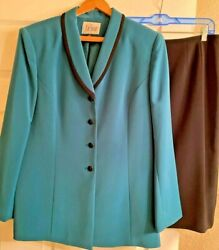 Le Suit The Kasper Brand Women#x27;s Teal Black Skirt Suit size 14 $20.00