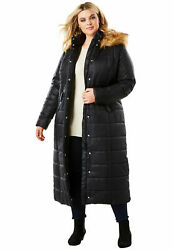 Roaman#x27;s Women#x27;s Plus Size Maxi Length Quilted Parka With Hood Winter Coat $68.00