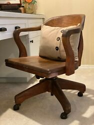 Vintage WOOD SWIVEL BANKER CHAIR antique office industrial wooden arm desk chair $143.00