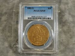 1882 S $20 Gold Double Eagle PCGS XF45 $2200.00