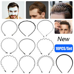 10PCS Metal Hair Headband Wave Style Hoop Band Comb Sport Hairband for Men Women $10.98