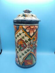 Talavera Pottery Mexican Folk Art Kitchen Canister Tall Lidded Signed CASAL $49.99