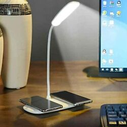 Smart LED Home Office Table Wireless Charger Lamp with Two Wireless Charging Sta