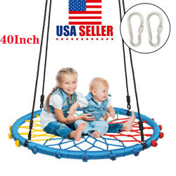 40 Inch Round Kids Swing Outdoor Garden Nest Rope Spider Net Swing Seat Safety $53.68