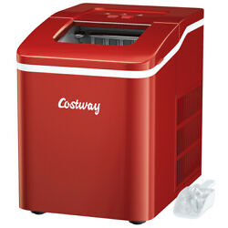 Portable Ice Maker Machine Countertop 26Lbs 24H Self cleaning w Scoop Red $119.99