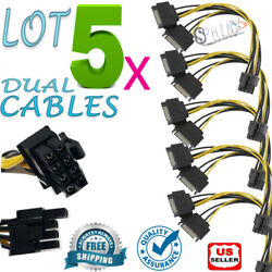 5 PCS Dual SATA to PCI E Power Cable 15Pin SATA to 8 pin Video Card Power Wire $9.99
