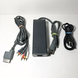 OEM Microsoft XBOX 360 FAT Power Supply Brick w Power Cord amp; Component Cable $36.00