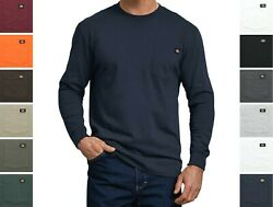 Dickies#x27; Men#x27;s Long Sleeve T Shirt Crew Neck Heavyweight Big amp; Tall with Pocket $13.99