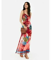 Nwt Express Floral Tie Front Cut Out Maxi Dress XS $29.99