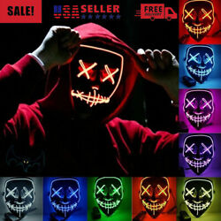 Halloween LED Glow Mask 3 Modes EL Wire Light Up The Purge Movie Costume Party $6.66
