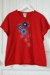 Women#x27;s Top Stitch by Morning Sun Plus Size 1X Red White Blue Flowers Top Tshirt $6.00