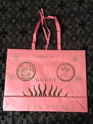 Large Gucci Holiday 2018 Edition Pink Gold Gift Shopping Bag $20.00